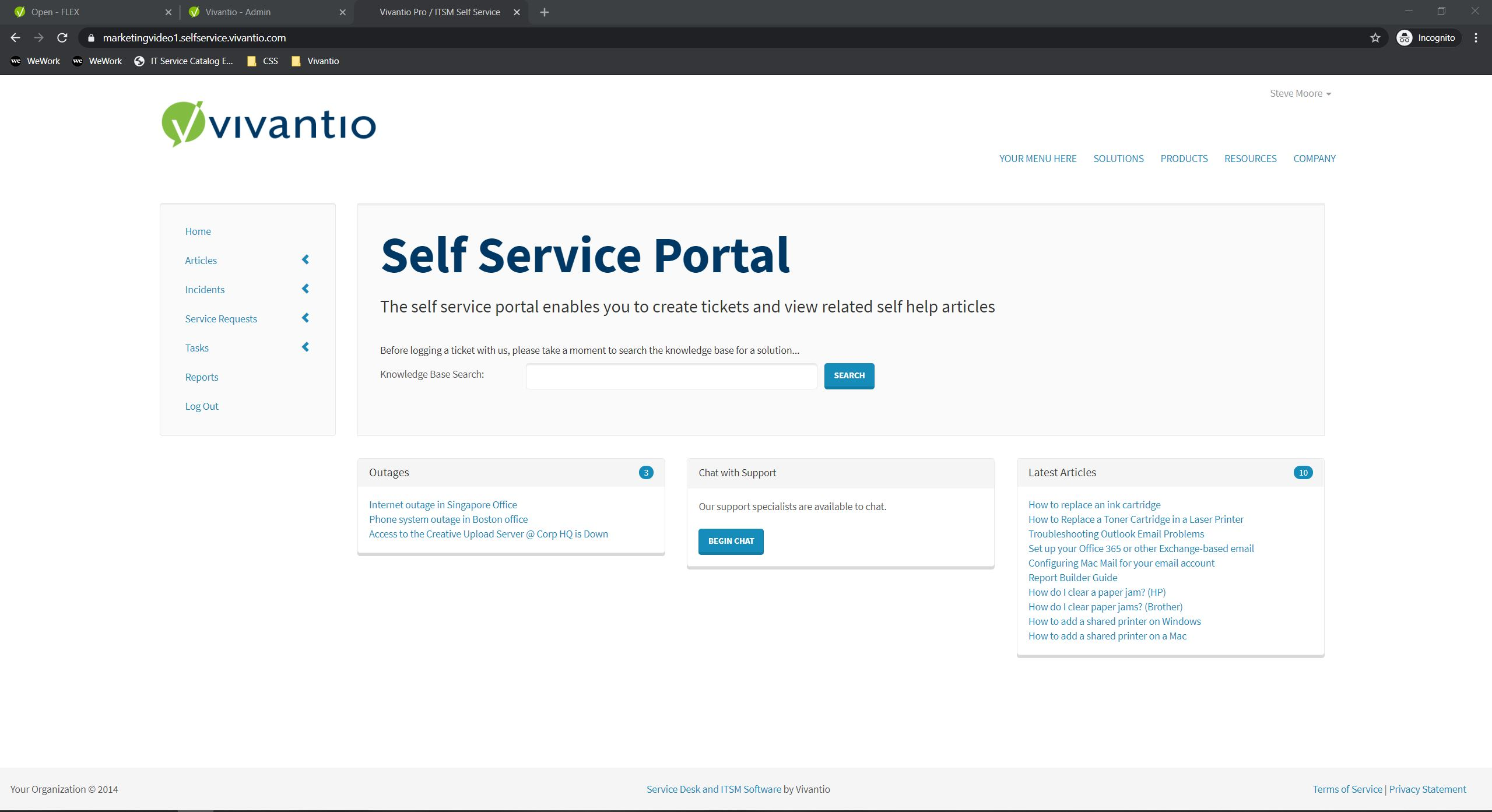 self service portal home page screen capture