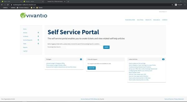 self service portal home page screen capture