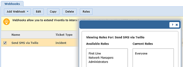 Vivantio SMS viewing roles