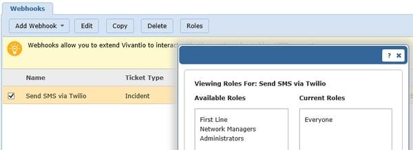 Vivantio SMS viewing roles