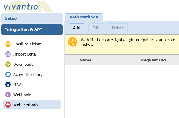 screenshot of web methods admin area