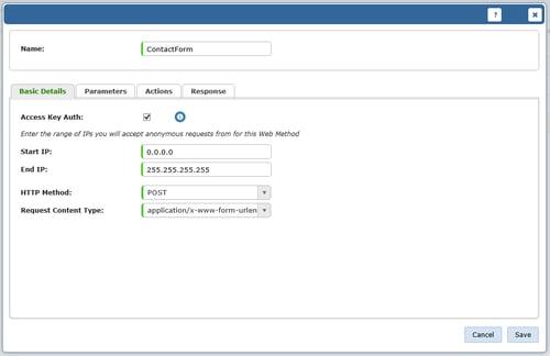 screenshot of add web method basic details