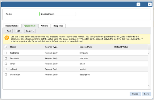 screenshot of vivantion add web wethod parameters