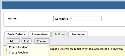 screenshot of vivantio add web method actions