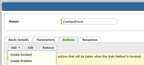 screenshot of vivantio add web method actions