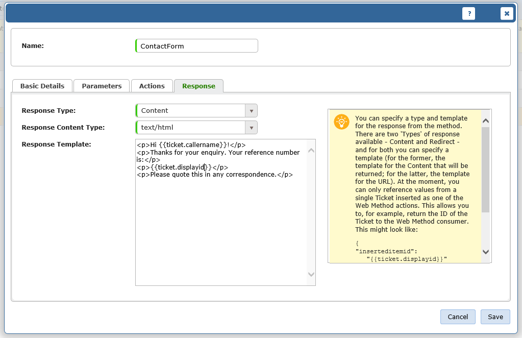 screenshot of add web method response