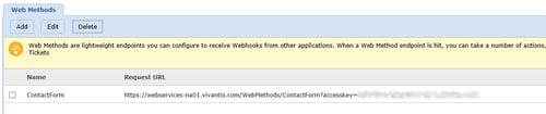 screenshot of vivantio web method URL