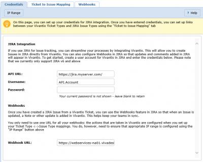 Screenshot of Jira Credentials Populated