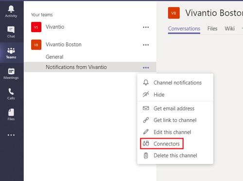 MS Teams Vivantio connectors detail
