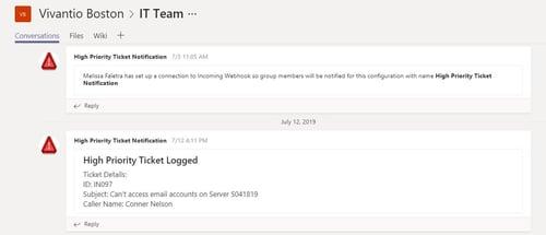 screenshot of high priority notification in MS teams