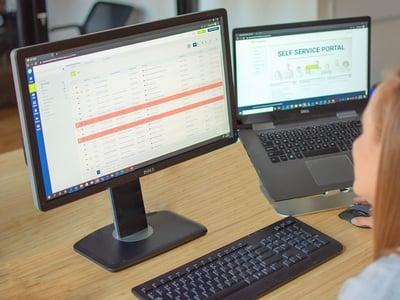 Computer monitor showing the vivantio self-service portal