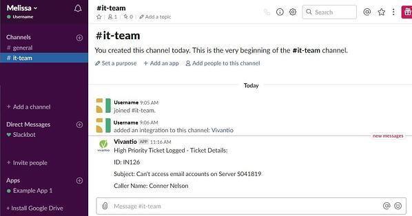 Example of High Priority Notification in Slack