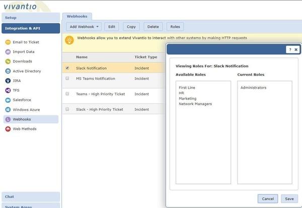 Screenshot of Webhook Roles in Vivantio