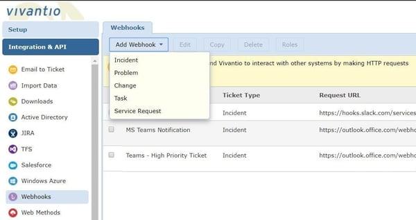 Screenshot to add webhook in Vivantio