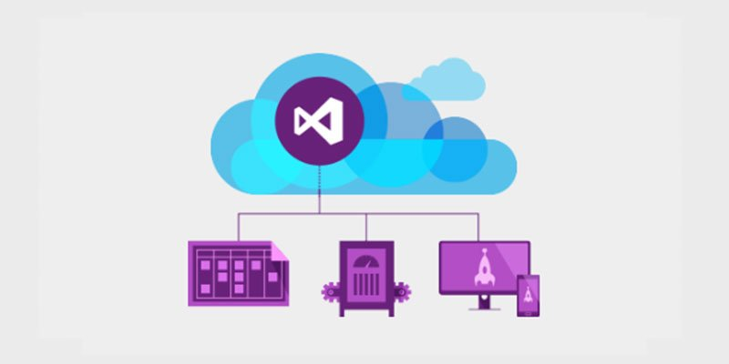 blue and purple diagram with stylized icons showing the process of microsoft team foundation server