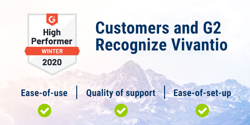 G2 Crowd high-performer badge along with features of vivantio